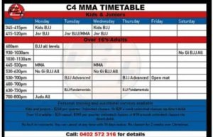 C4 Brazilian Jiu Jitsu and Mixed Martial Arts Timetable