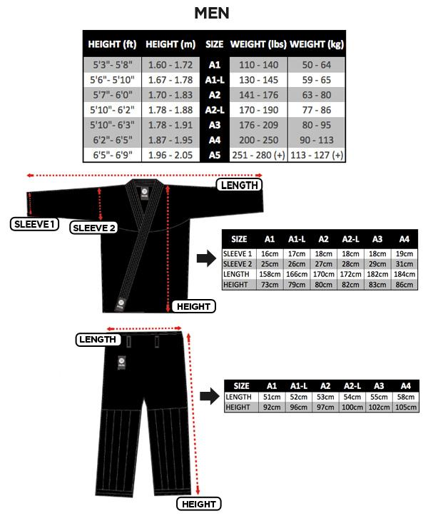 Atama Mens Jiu Jitsu Gi Size Chart