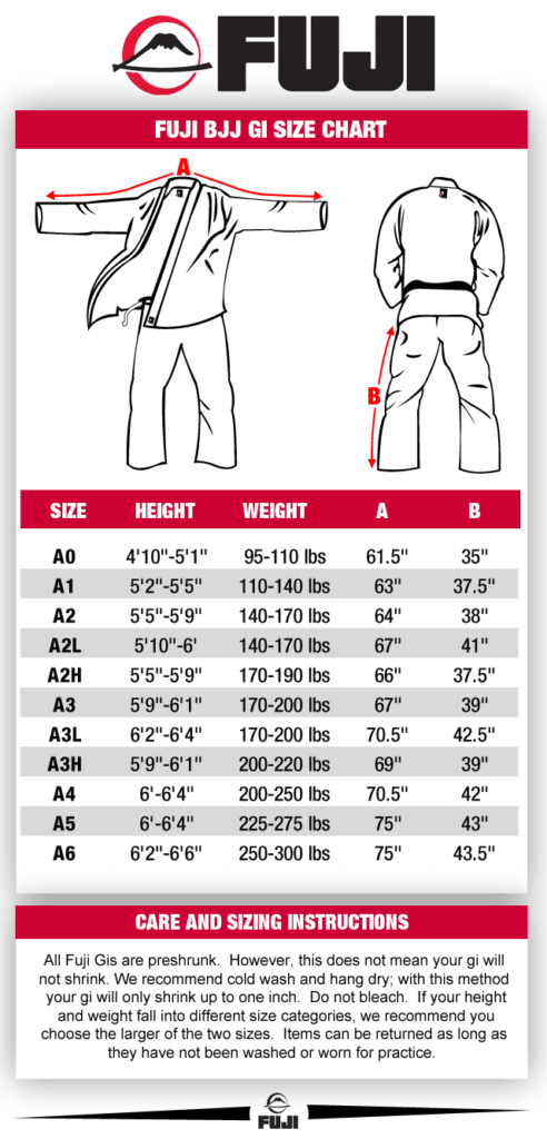 Fuji BJJ Gi Size Chart