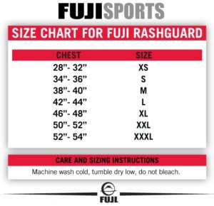 Fuji Rashguard Size Chart
