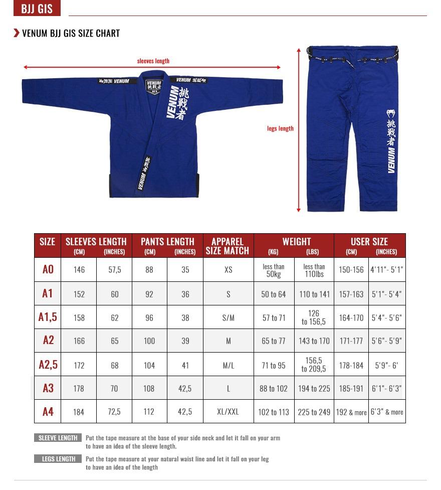 Venum BJJ Gi Size Chart