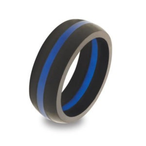 BJJ Gift Ideas - Men's Thin Blue Line Silicone Ring QALO